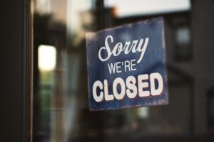 Sorry we're closed sign in window